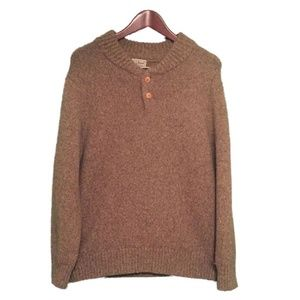 LL BEAN Brown Lambs Wool Sweater Men's Size L